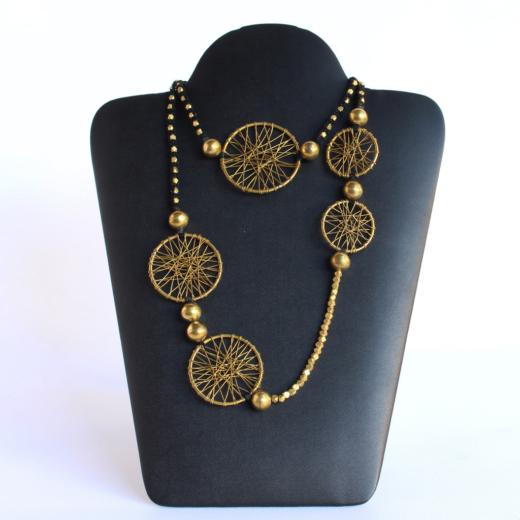 Brass and Cotton Thread Necklace Circles