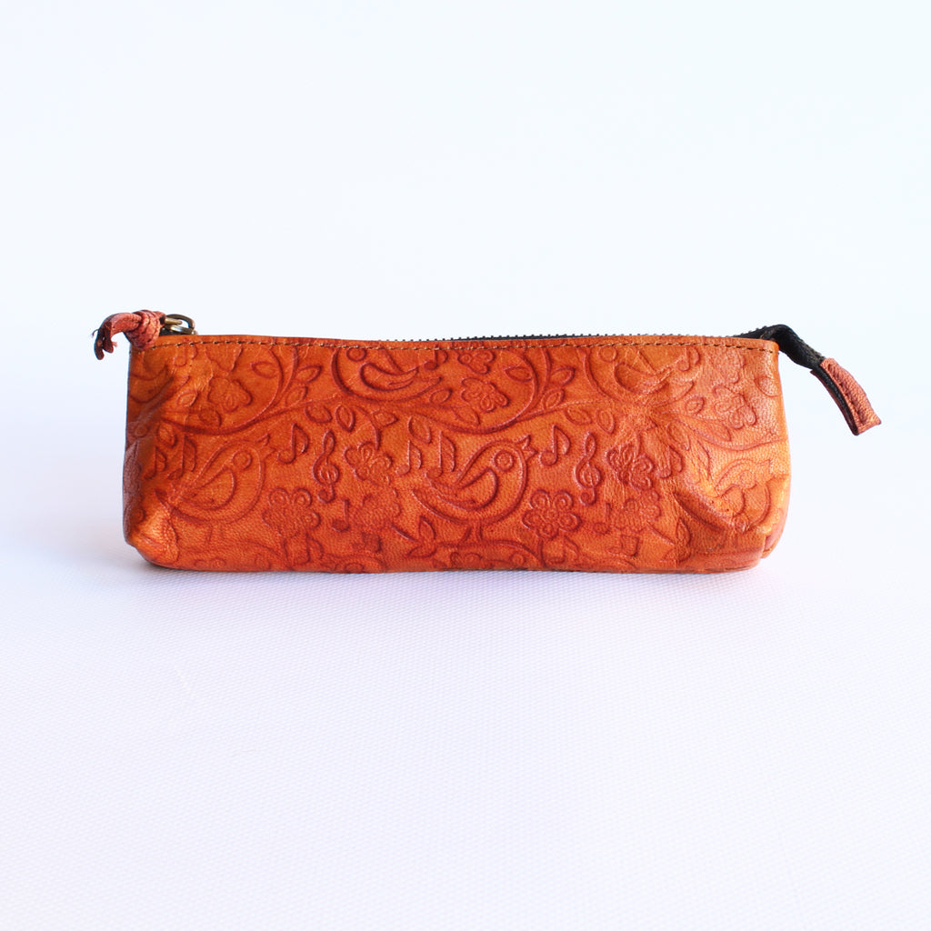 Leather Purse 8x20cms Tan colour Bird Design