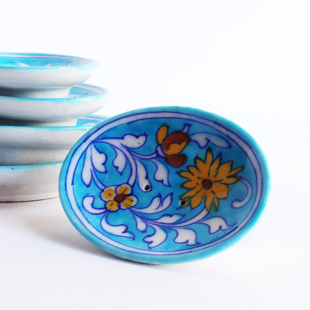 Jaipur Blue Pottery Soap Dish Small Aqua