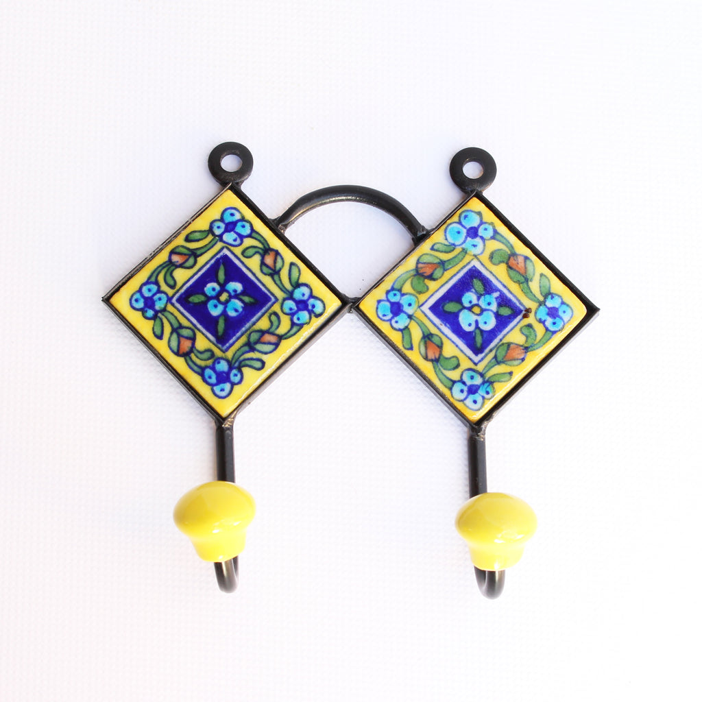 Jaipur Blue Pottery Double Hook Yellow