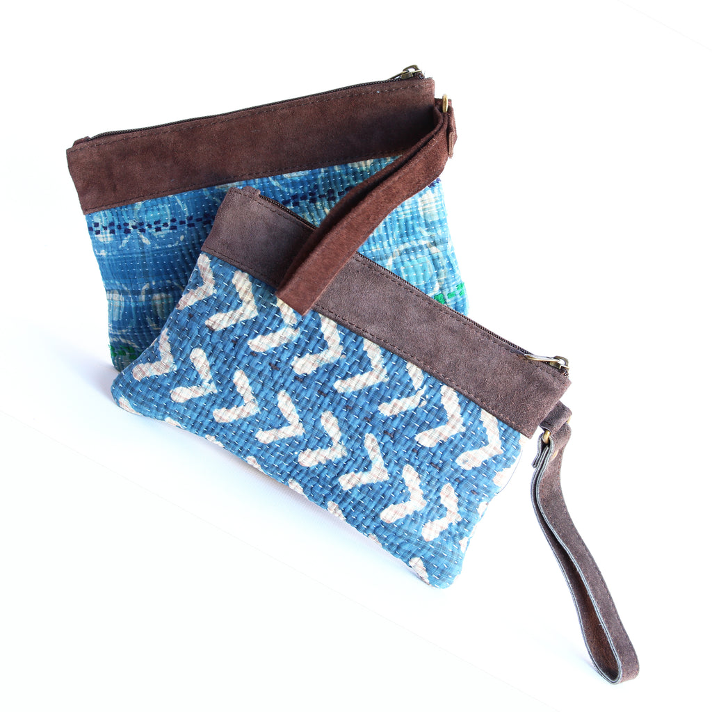 Vintage Kantha Clutch Purse With Strap