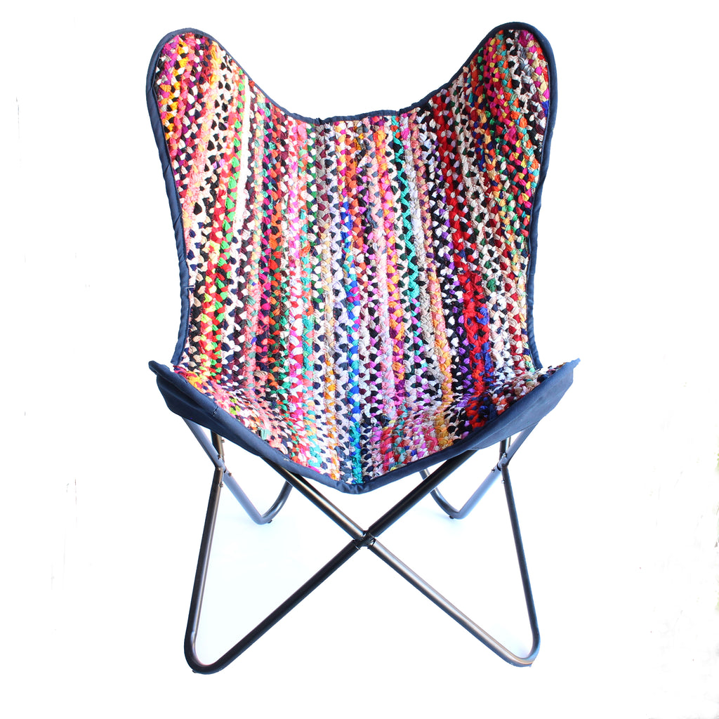 Butterfly Chair Chindi Design Dark Blue Backing
