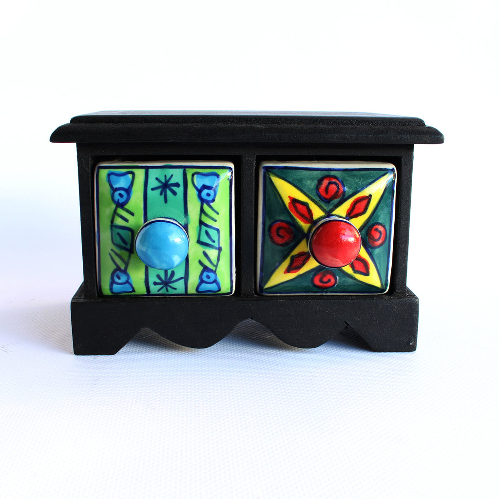 Ceramic Two Draw Box 16x9cms 10cms high
