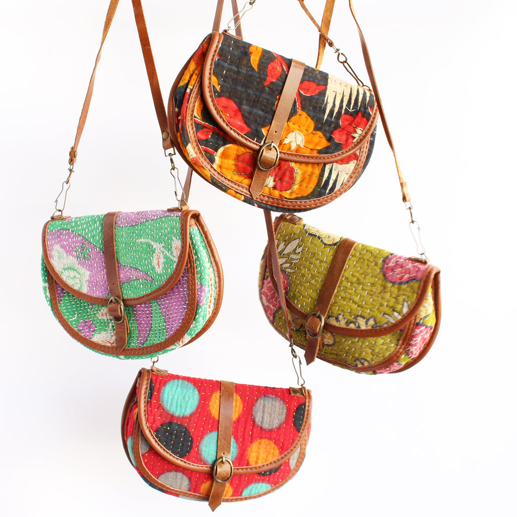 Vintage Kantha Cutie Pie Crossbody Bag