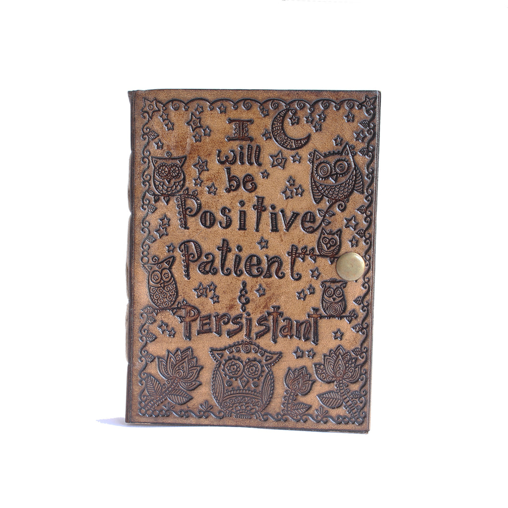 Leather Journal 3p's Positive, Patient and Persistent 13x18cms