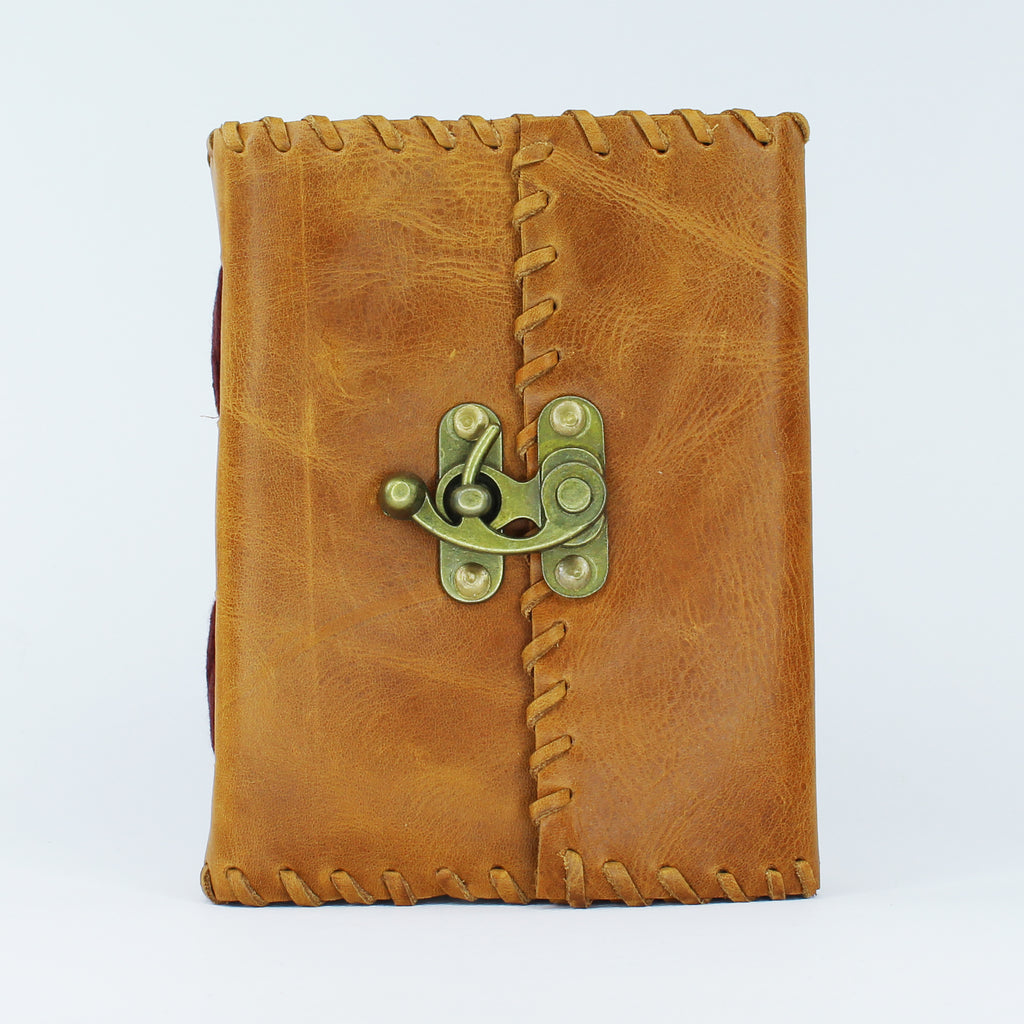 Clutch Leather Journal with Lock 12x16cms