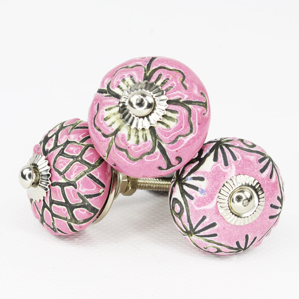 Door Knob / Drawer Knob Pink Range Pack of 4