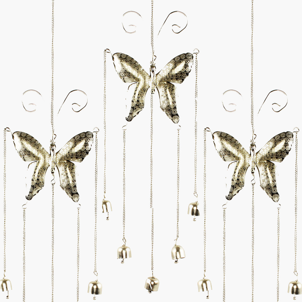 Metal Art Butterfly Hanger with four Bells