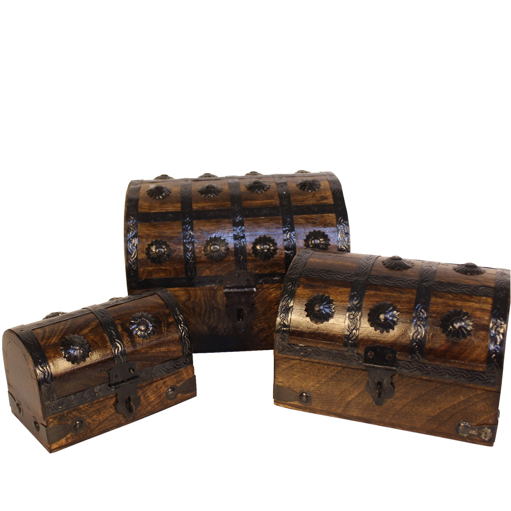 Wooden Chests set of Three