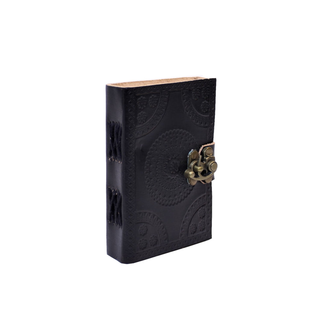 Leather Journal with Metal C Lock Small 7.6x12.7cms