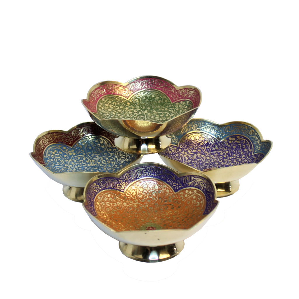 Brass Bowl Poppy Design