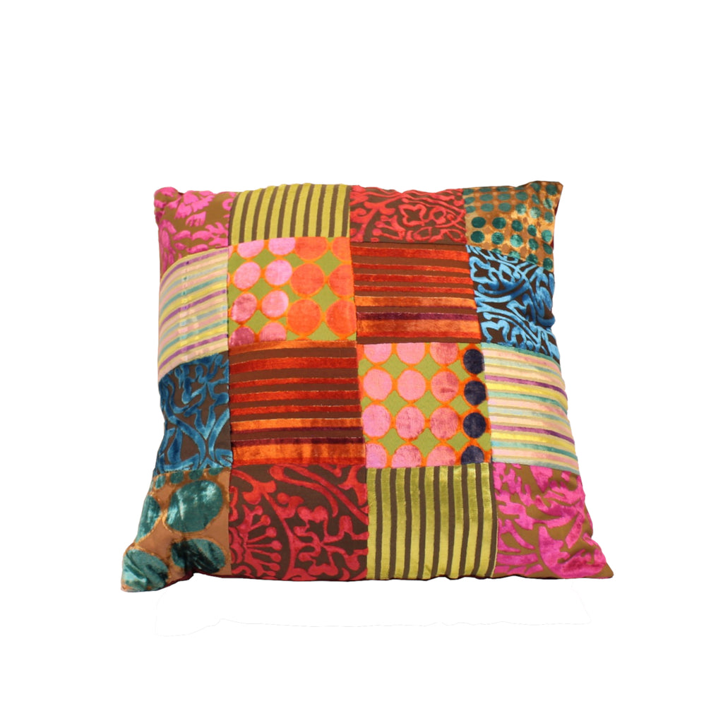 Velvet Patchwork Cushion with Filler 45x45cms