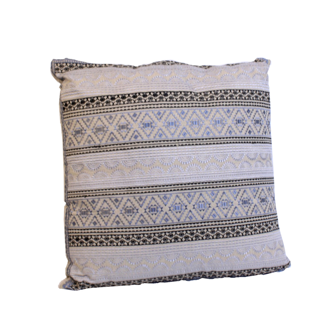 Cotton Cushion with Grey, Black and Silver Embroidery with Filler