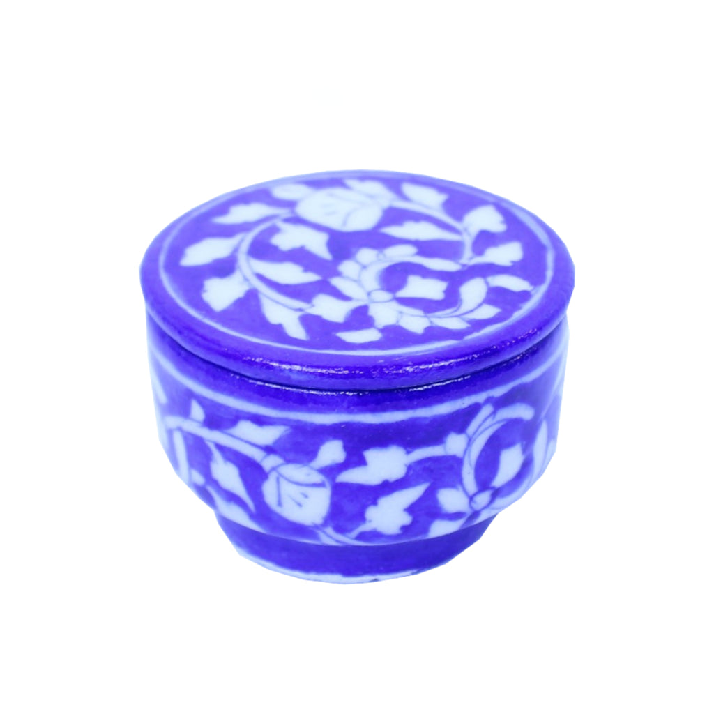 Jaipur Blue Pottery Round Bowl with Lid 3x2cms