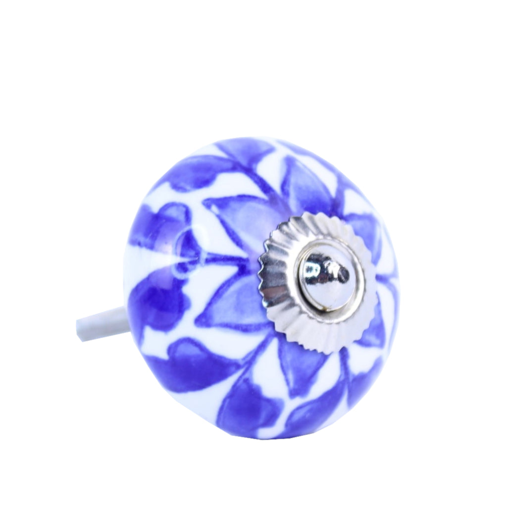 Door / Drawer Knob Blue White pack of 4 W/S