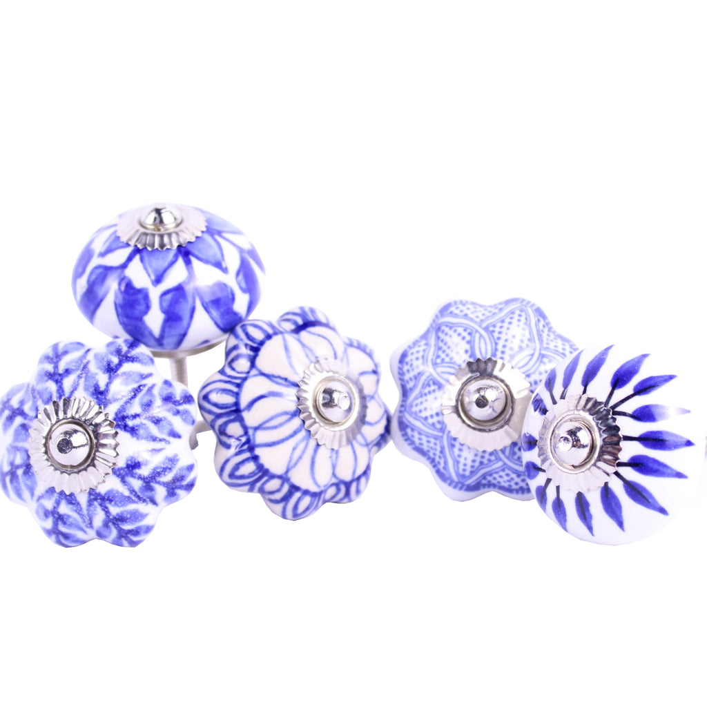 Door / Drawer Knob Blue White pack of 4