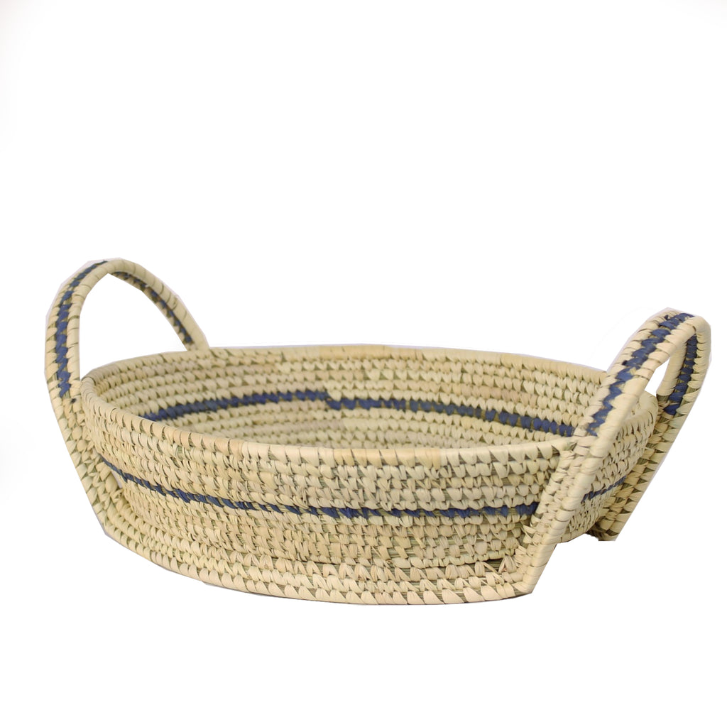 Sustainable Oval Basket with Handles 31x25x6.5cms