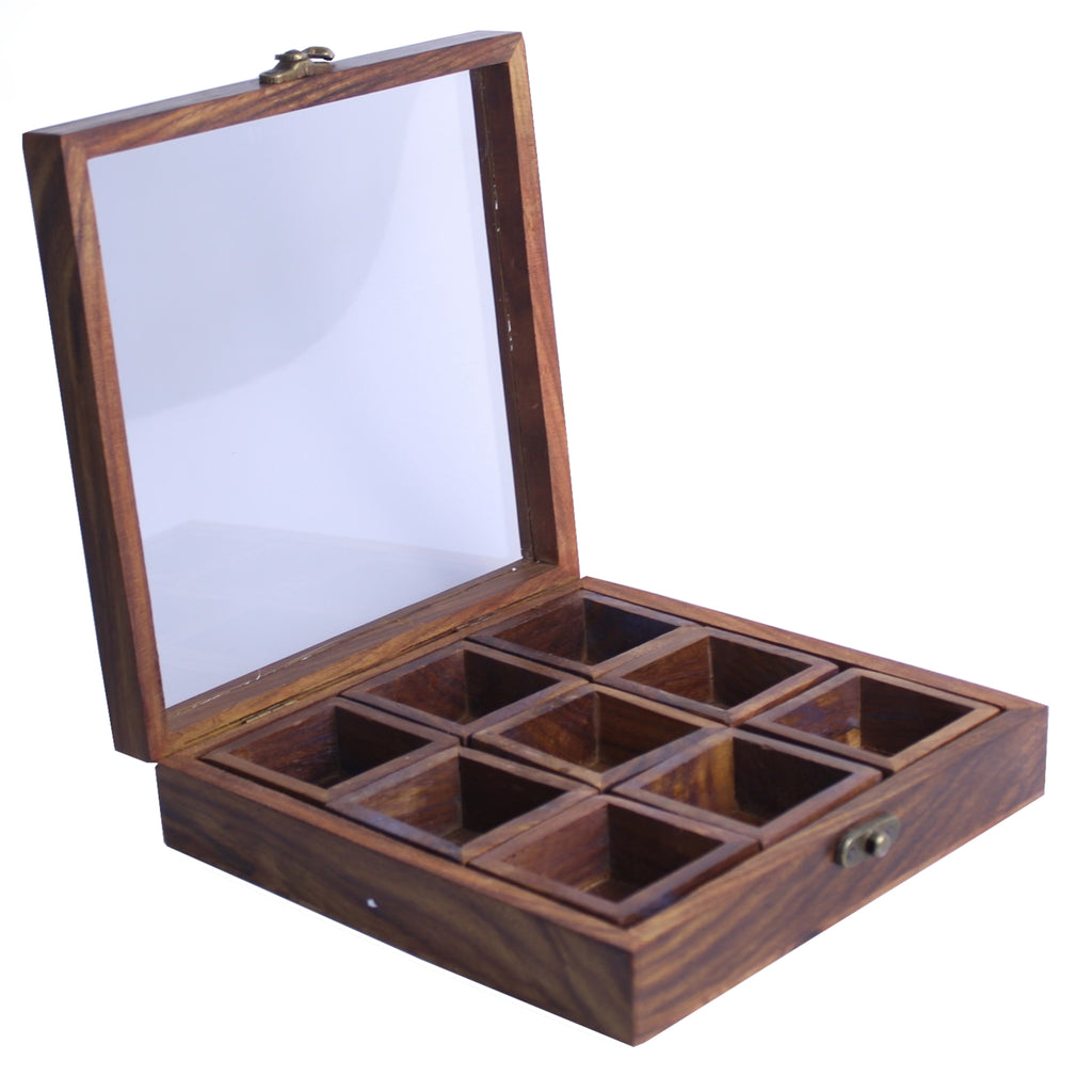 Glass Lid Wooden Spice Box