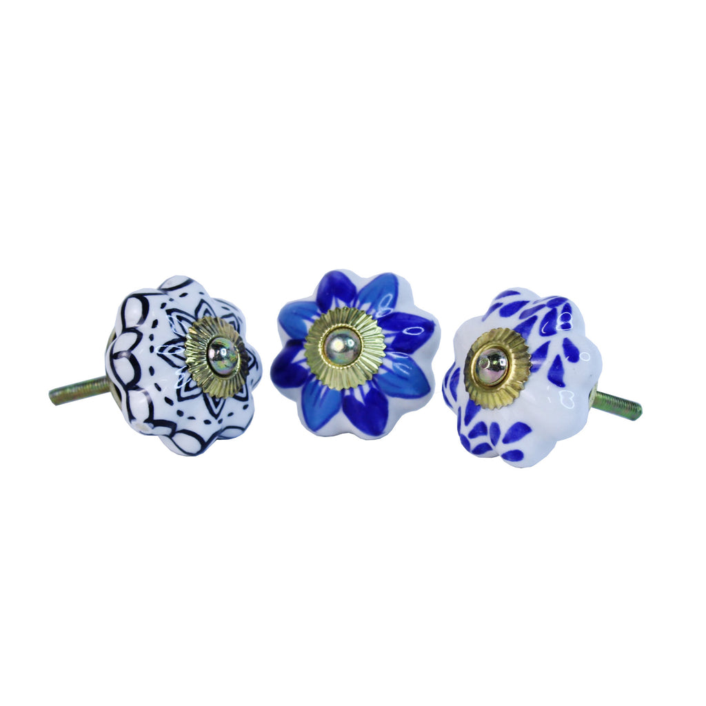 Door / Drawer Knob Blue Bloom pack of 4