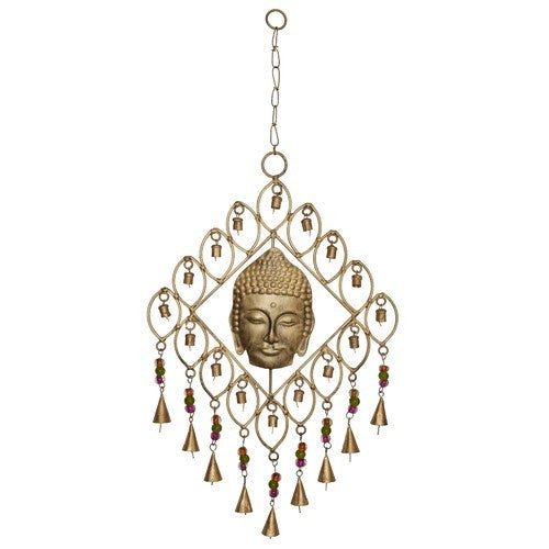 Iron Art Buddha Square with 9 bells Hanger