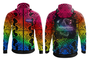 Rainbow Full zip hoodie (Slim Fit) please check description for full colour details as colours have changed to red on hood instead of pink.