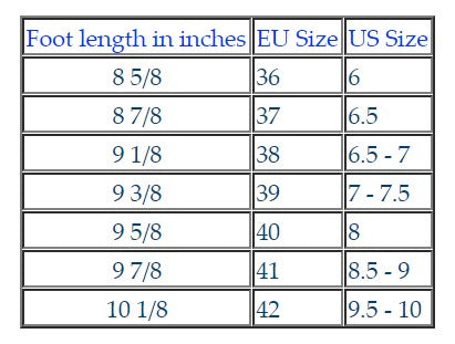 Vibram Five Fingers Sizing Chart
