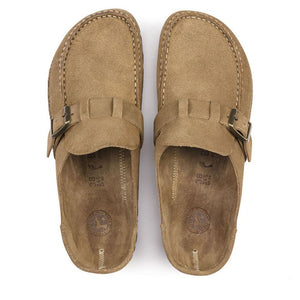 Birkenstock Buckley Suede Clog in Tea