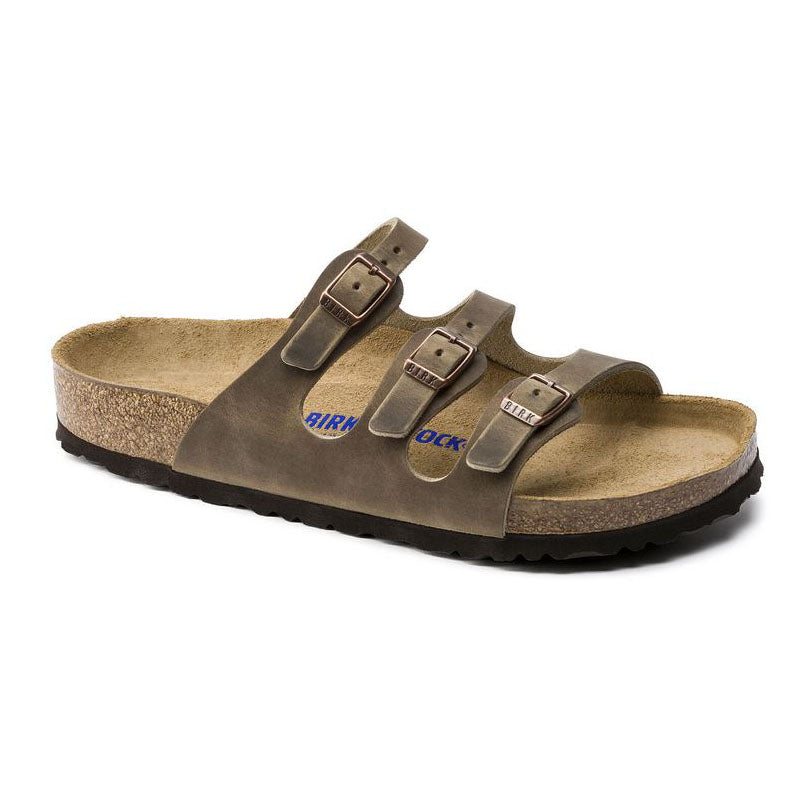 Birkenstock Florida Oiled Leather in Tobacco Brown