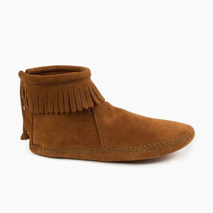 Minnetonka Back Zip Softsole Boot in Brown
