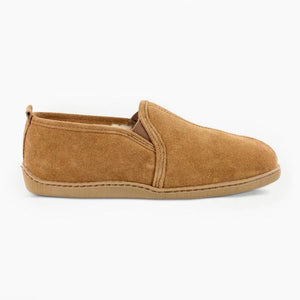Minnetonka Men's Twin Gore Sheepskin Slipper in Tan