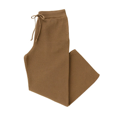BATONER HIGH COUNT RIB KNIT PANTS - l.camel