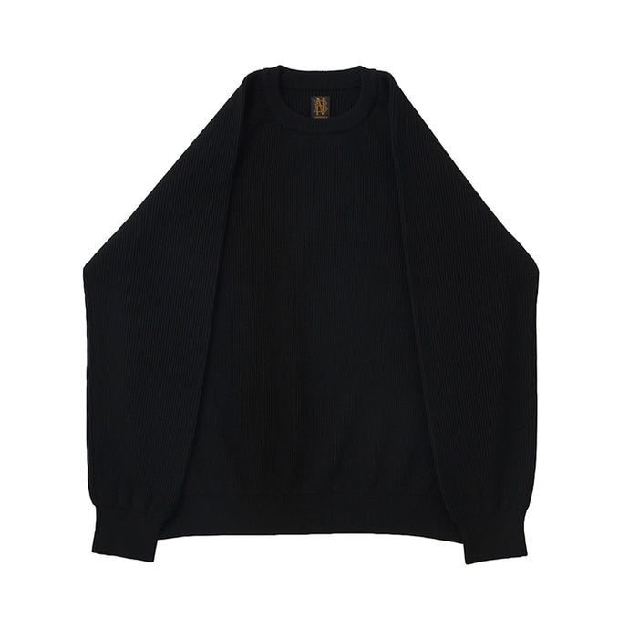 BATONER HARD TWIST WOOL CREW NECK - black