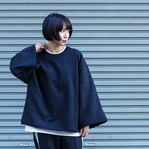 PRE_WIDE SWEAT - black