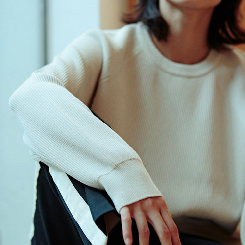 BATONER HARD TWIST WOOL CREW NECK - ivory