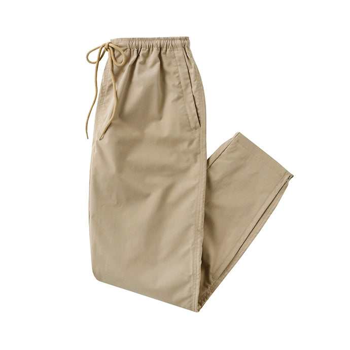 stretch zip pants - beige