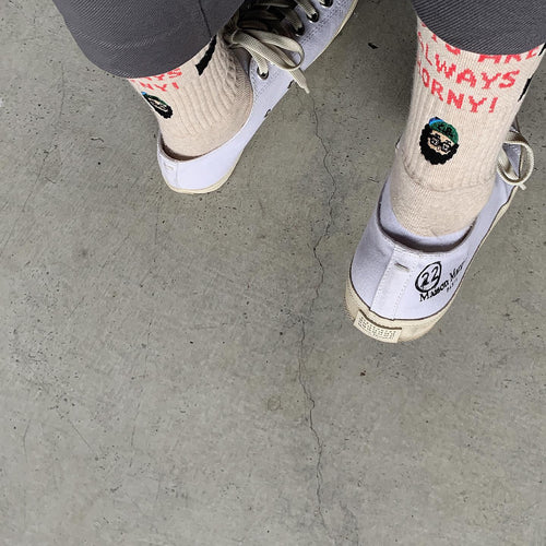 otii × chi-bee HORNY socks ⅱ - oatmeal / white