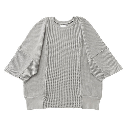 otii original remake waffle pullover s/s - gray