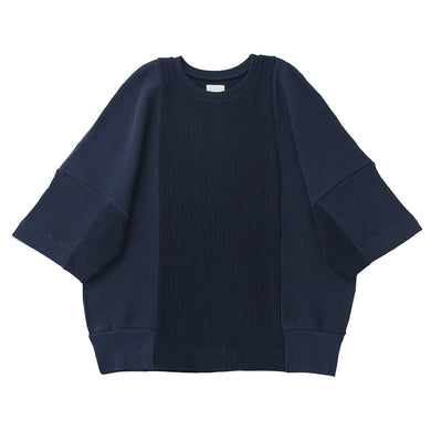 otii original remake waffle pullover s/s - navy
