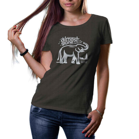 womens dark gray organic cotton and recycled plastic elephant shirt