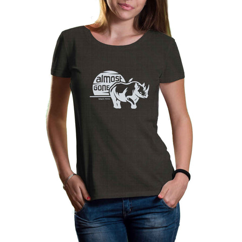 womens dark gray organic cotton and recycled plastic rhino shirt