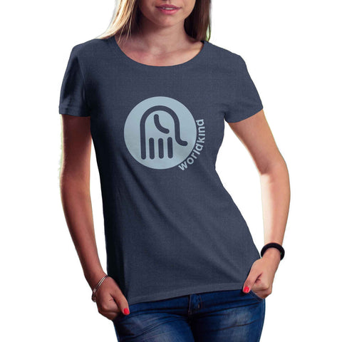 womens navy blue organic cotton and recycled plastic tshirt with light blue worldkind logo
