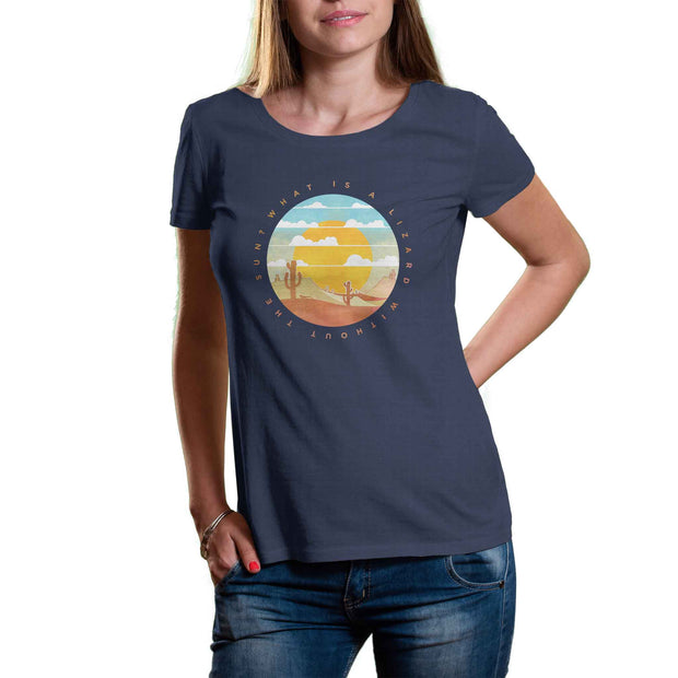 womens dark grey organic cotton and recycled plastic tshirt with picture of desert including sunset cactus and lizard