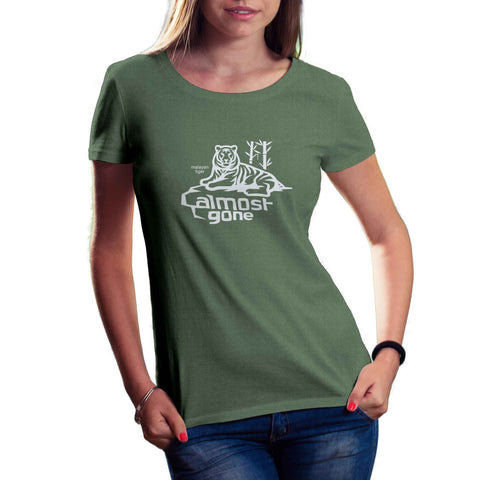womens pine green organic cotton and recycled plastic tiger shirt