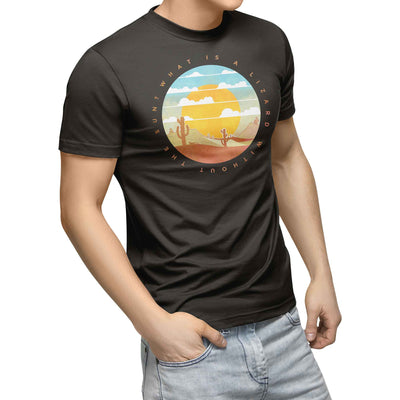 mens black organic cotton tshirt with picture of desert including sunset cactus and lizard