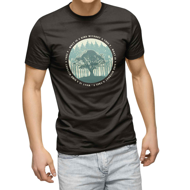 mens black organic cotton tshirt with picture of single tree and birds