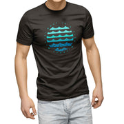 mens black organic cotton tshirt with circle graphic of ocean waves and fish