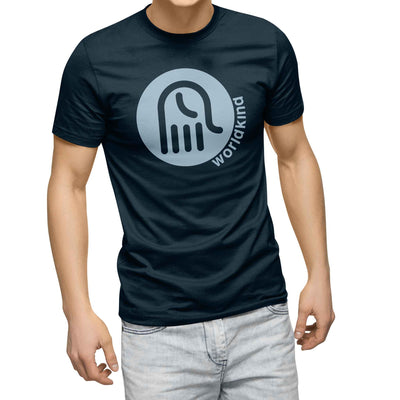 mens navy blue organic cotton tshirt with light blue worldkind logo