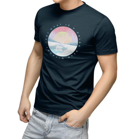 mens navy blue organic cotton tshirt with circle tundra sunset polar bear