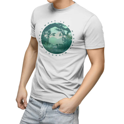 mens white organic cotton tshirt with circle picture of rain forest and monkey