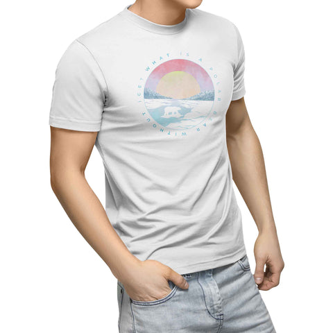 mens white organic cotton tshirt with circle tundra sunset polar bear
